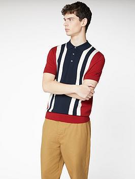 Ben Sherman Ben Sherman Colour Block Knitted Polo Shirt - Red Picture