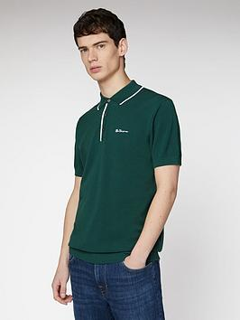 ben-sherman-resort-neck-knit-polo-top-green