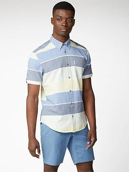 Ben Sherman Ben Sherman Short Sleeved Engineered Stripe Shirt - Sky Picture