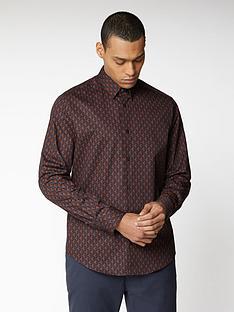 ben-sherman-long-sleeve-printed-twill-shirt-navy