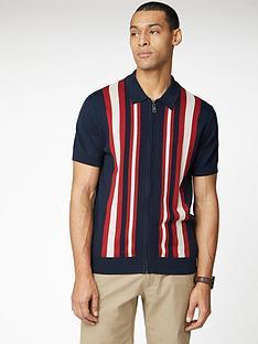 ben-sherman-textured-stripe-zip-through-polo-shirt-navy
