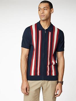 Ben Sherman Ben Sherman Textured Stripe Zip Through Polo Shirt - Navy Picture