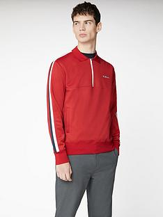 ben-sherman-mod-tape-quarter-zip-tricot-track-top-red