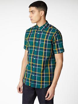 Ben Sherman Ben Sherman Short Sleeve Textured Check Shirt - Green Picture