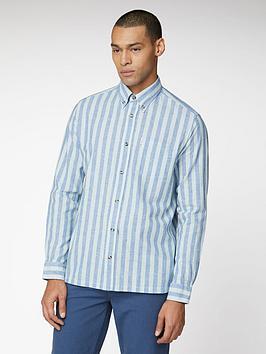Ben Sherman Ben Sherman Long Sleeve Linen Candy Stripe Shirt - Light Green Picture