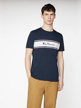 Ben Sherman Ben Sherman Chest Stripe Logo Print T-Shirt - Dark Navy Picture