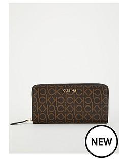 calvin-klein-zip-around-purse-brown