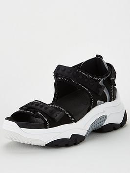 Ash Ash Adapt Wedge Sandal - Black/Silver Picture