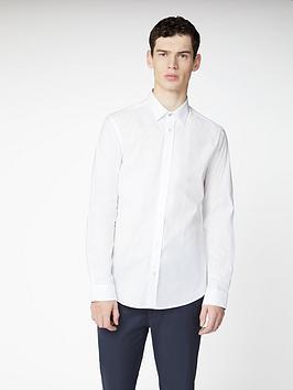 Ben Sherman Ben Sherman Long Sleeve Stretch Poplin Shirt - White Picture