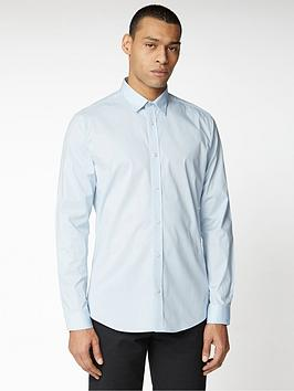 Ben Sherman Ben Sherman Long Sleeve Stretch Poplin Shirt - Blue Picture