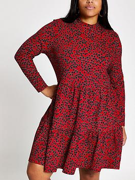 RI Plus Ri Plus Floral Tiered Smock Dress - Red Picture