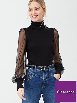river-island-mesh-sleeve-jersey-rib-roll-neck-topnbsp--black