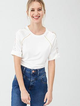 River Island River Island Satin Lace Mix Sleeve Jersey Tee - Cream Picture