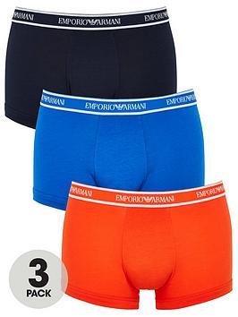 Emporio Armani Bodywear   Emporio Waistband 3 Pack Stretch Cotton Trunks - Blue/Navy/Orange