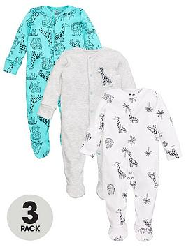 V by Very V By Very Baby Boy 3 Pack Animal Sleepsuits - Multi Picture