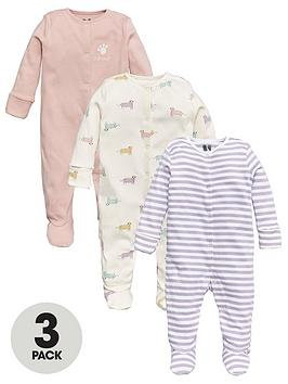 V by Very V By Very Baby Girls 3 Pack Animal Print Sleepsuits - Multi Picture