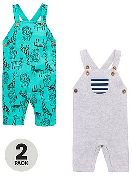 V by Very V By Very Baby Boys 2 Pack Animal Rompers - Multi Picture