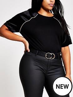 ri-plus-ri-plus-satin-and-lace-sleeve-jersey-tee-black