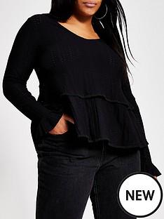 ri-plus-v-neck-smock-jersey-top-black