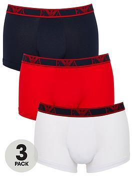 Emporio Armani Bodywear   Eva Band 3 Pack Stretch Cotton Trunks - White/Red/Navy