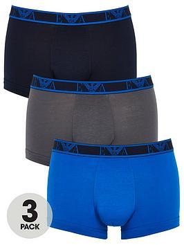 Emporio Armani Bodywear   Eva Band 3 Pack Stretch Cotton Trunks - Blue/Grey/Navy