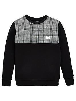 Good For Nothing Good For Nothing Boys Checked Block Crew Neck Sweatshirt  ... Picture