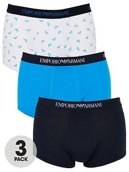 Emporio Armani Bodywear   Emporio Armani All Over Logo 3 Pack Cotton Trunks