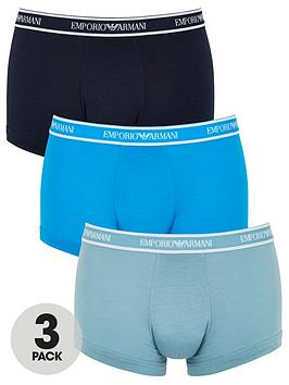 Emporio Armani Bodywear   Emporio Waistband 3 Pack Stretch Cotton Trunks - Blue/Navy/Sky Blue