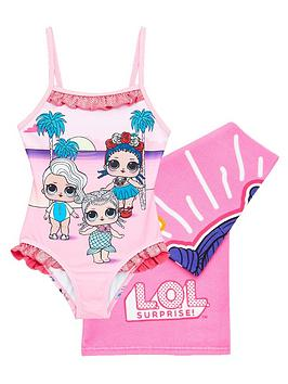 L.O.L Surprise!  Girls 2 Piece Swimsuit And Towel Set - Pink