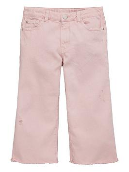 V by Very V By Very Girls Frayed Hem Cropped Jeans - Pink Picture