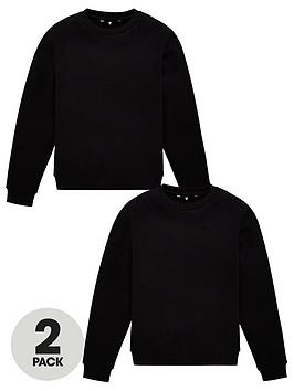 V by Very V By Very Unisex 2 Pack Basic School Sweat Top - Black Picture