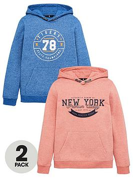 V by Very V By Very Boys 2 Pack Printed Hoodies - Coral/Blue Picture