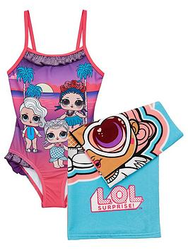 L.O.L Surprise! Girls 2 Piece Swimsuit And Towel Set - Purple