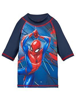Spiderman Spiderman Boys Long Sleeve Swim T-Shirt - Navy Picture