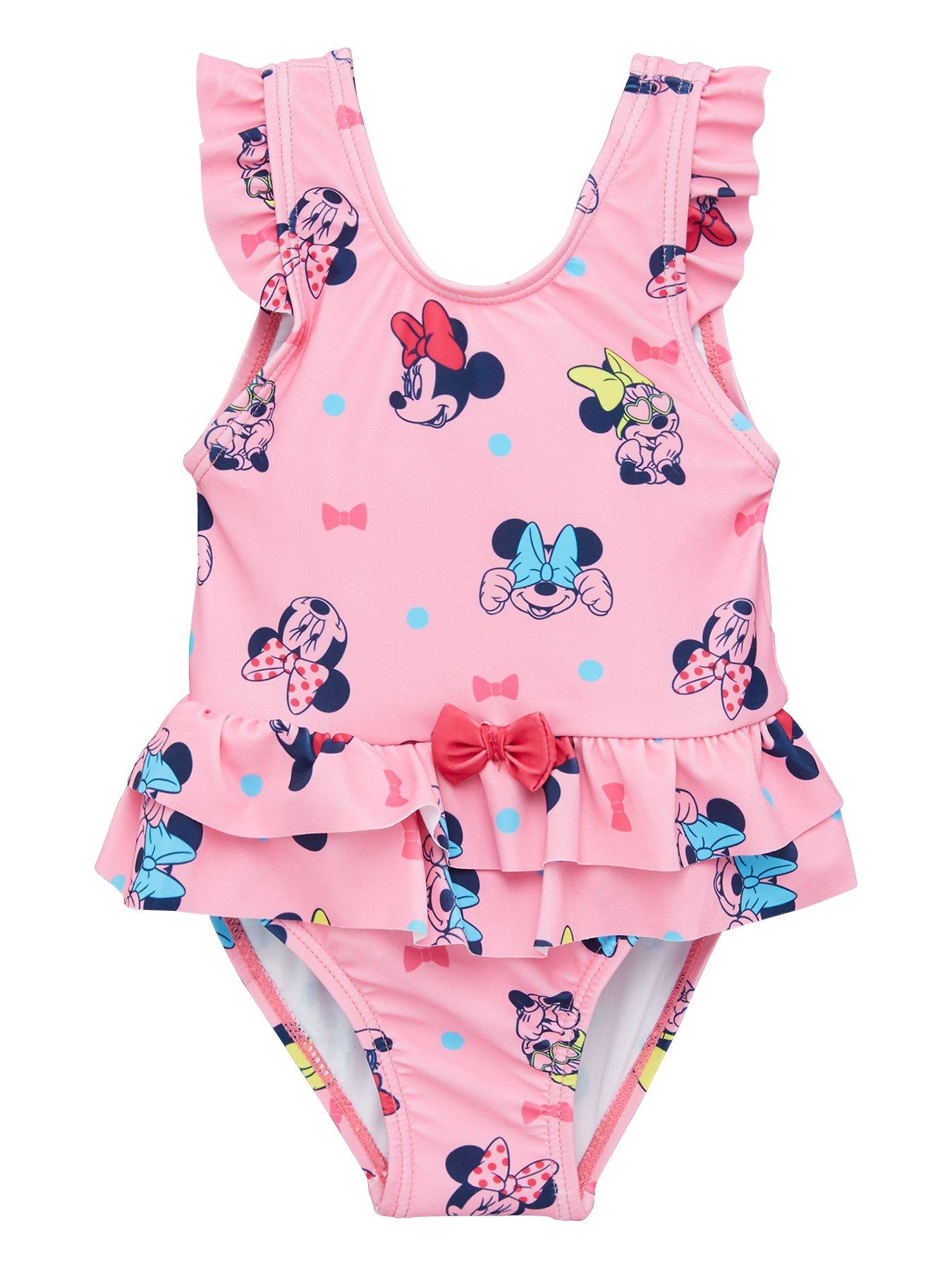 NEW GIRLS DISNEY MINNIE MOUSE SWIMMING COSTUME NAVY-PINK BOW SWIM SUIT 3-8 YEARS
