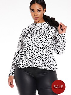 quiz-curve-polka-dot-woven-peplum-top-black-and-white