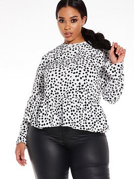 Quiz Curve Quiz Curve Polka Dot Woven Peplum Top - Black And White Picture
