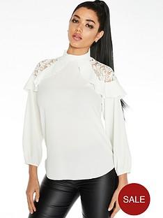 quiz-lace-shoulder-ruffle-sleeve-blouse-cream