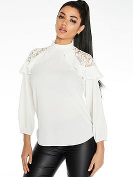 Quiz Quiz Lace Shoulder Ruffle Sleeve Blouse - Cream Picture