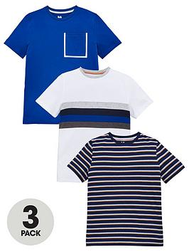 V by Very V By Very Boys 3 Pack Stripe Short Sleeve Tees - Blue/Multi Picture