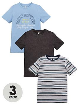 V by Very V By Very Boys 3 Pack Wave, Stripe And Plain Short Sleeve  ... Picture