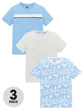 V by Very V By Very Boys 2 Pack Palm Print, Mottle And Stripe Short Sleeve  ... Picture