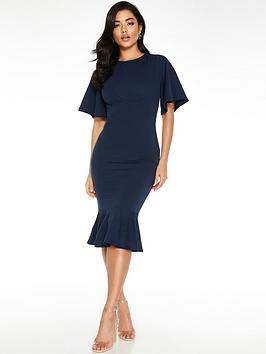 Quiz Quiz Fluted Sleeve Midi Dress - Navy Picture