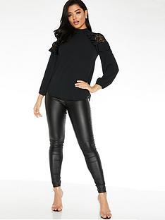 quiz-lace-shoulder-ruffle-sleeve-blouse-black