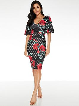 Quiz Quiz Polka Dot Rose Print Midi Dress - Black Picture