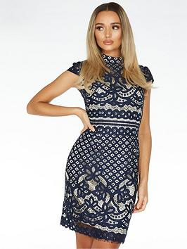 Quiz Quiz Crochet High Neck Cap Sleeve Midi Dress - Blue Picture