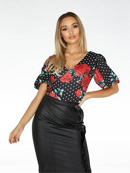 Quiz Quiz Polka Dot Rose Print Bodysuit - Black/Cream/Red Picture