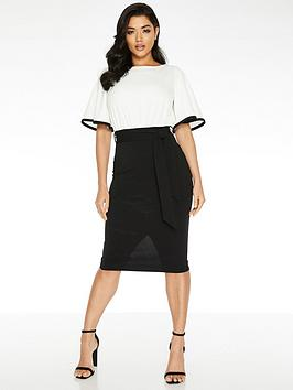 Quiz Quiz Flute Sleeve Midi Dress - Cream/Black Picture