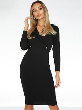 Quiz Quiz Button Lapel Midi Dress - Black Picture