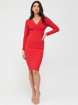 Quiz Quiz Button Lapel Midi Dress - Red Picture